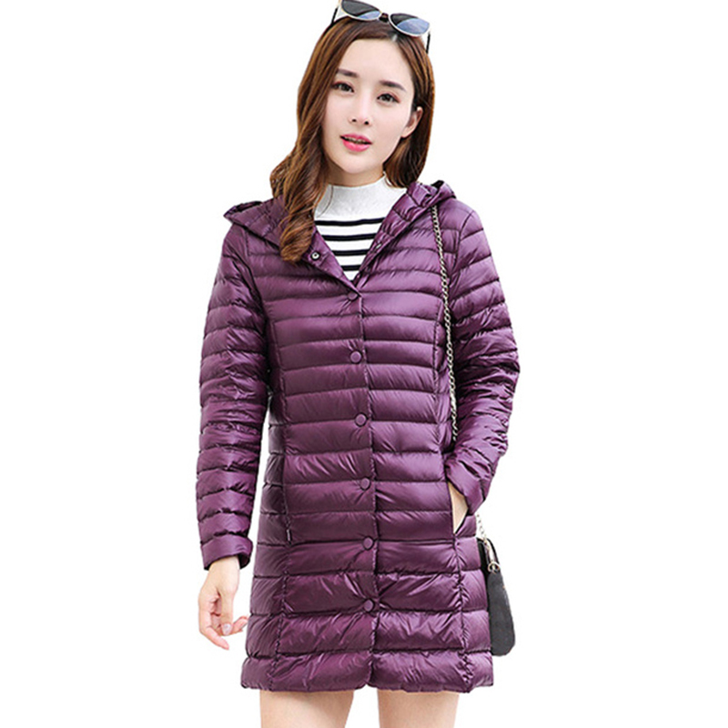 Women white duck   Down     Coat   2018 Winter Ultra Light Portable Hooded   Down   Jackets Single Breasted Slim Womens Long Jacket QH1255