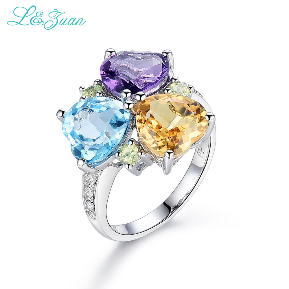 I Zuan 925 Sterling Silver Natural Amethyst Topaz Citrine 3 Color Rings For Women Love Heart