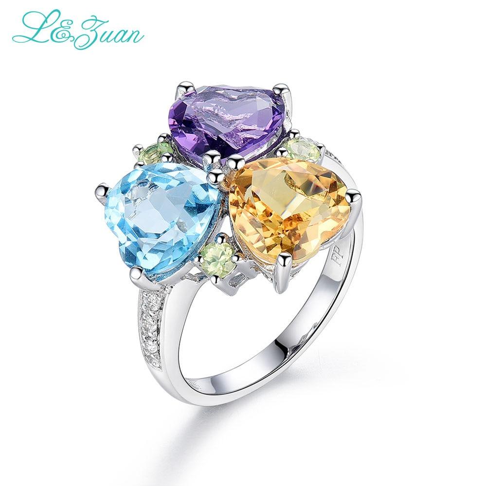 I Zuan 925 Sterling Silver Natural Amethyst Topaz Citrine 3 Color Rings For Women Love Heart