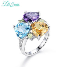 I&Zuan 925 Sterling Silver Natural Amethyst/Topaz/Citrine 3 Color Rings For Women Love Heart Shape Stone Fine Jewelry 5393K