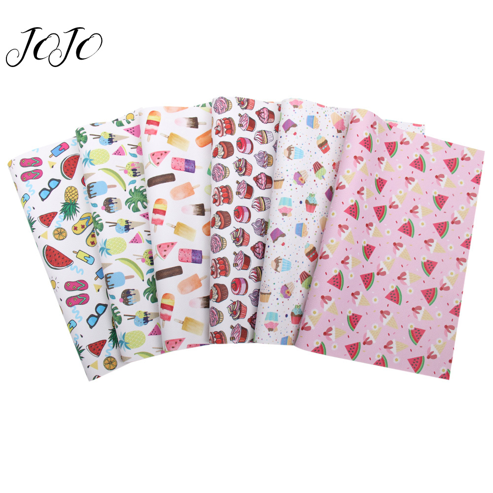 JOJO BOWS 22 30cm 1pc Faux Synthetic Leather Fabric For Craft Fruit Ice Cream Printed Sheet For Needlework DIY Bows Home Decor in Synthetic Leather from Home Garden