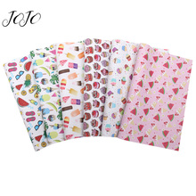 JOJO BOWS 22*30cm 1pc Faux Synthetic Leather Fabric For Craft Fruit Ice Cream Printed Sheet Needlework DIY Bows Home Decor