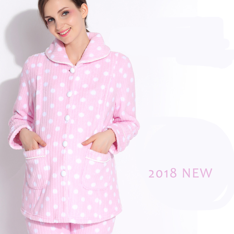 b5166e8e61 Pregnancy sleepwear pink comfortable maternity tops and bottom maternity  home wear thick maternity pajamas for winter