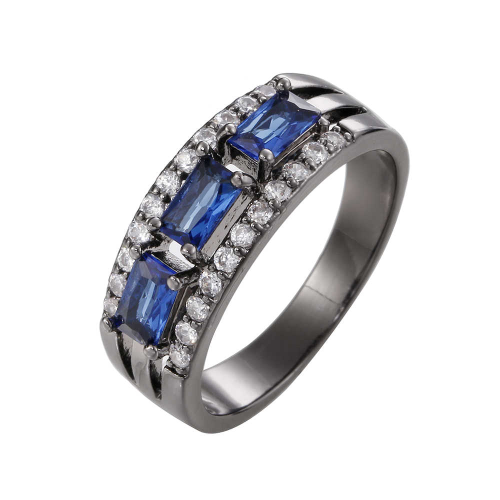 Sale Silver Color Crystal Female Rhinestone Rings for Women Blue Stone Christmas Gift for New Year Top Bague Femme anillos mujer