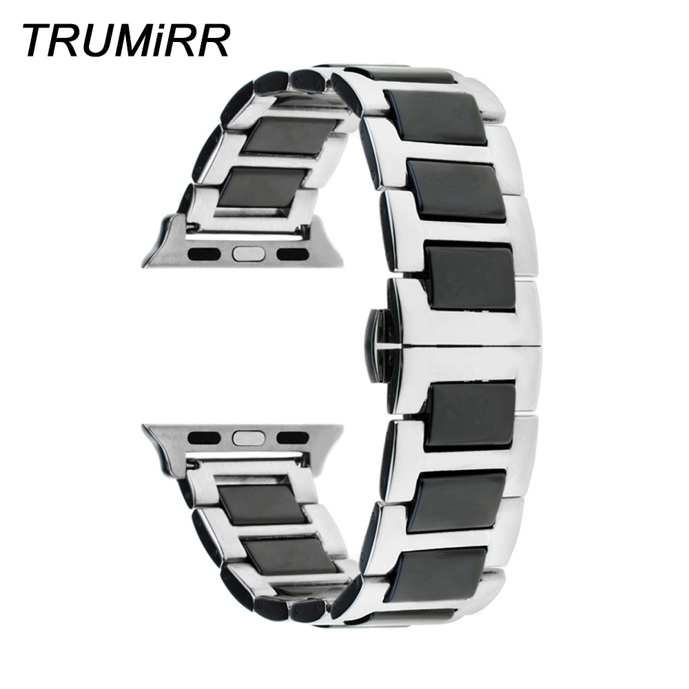 Ceramic & Stainless Steel Watchband + Upgraded Adapters for 38mm 42mm iWatch Apple Watch Band Wrist Strap Bracelet Black Silver