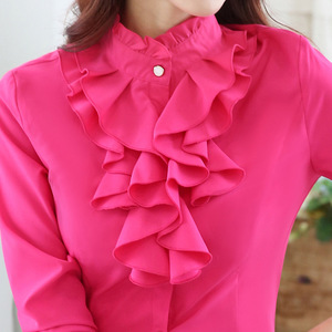 Image 3 - Высококачественная шифоновая блузка с длинным рукавом, элегантная женская рубашка с оборками, облегающая офисная блузка, Женская рабочая одежда, женские топы