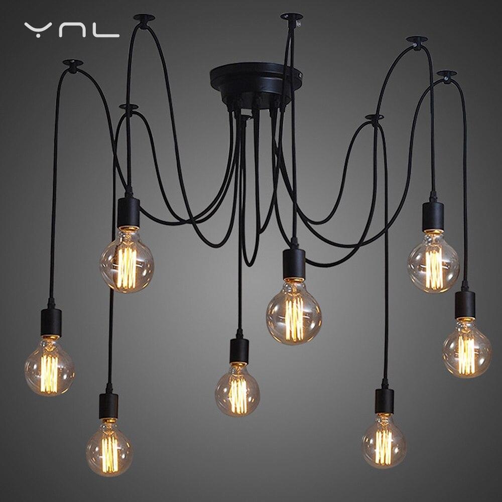 Modern Spider Pendant Lights Suspension Nordic Retro Vintage Lamp Edison Bulb E27 DIY Light Fixtures Indoor Antique Hanging Lamp