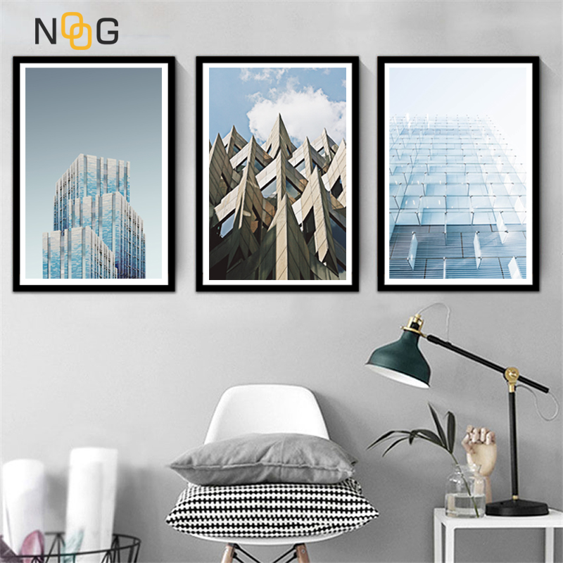 NOOG Architecture Building Landscape Wall Art Canvas Painting Nordic Posters And Prints Wall Pictures For Living Room Decor in Painting Calligraphy from Home Garden
