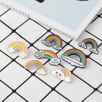 Wysokiej jakości śliczne Rainbow broszka Lady emalia szpilki chmura w stylu kreskówki odznaka Denim kurtki przypinka Dream biżuteria prezent dla dzieci prezent tanie i dobre opinie Moda Broszki Ze stopu cynku Metal TRENDY B007 Dziewczyny SOBUY