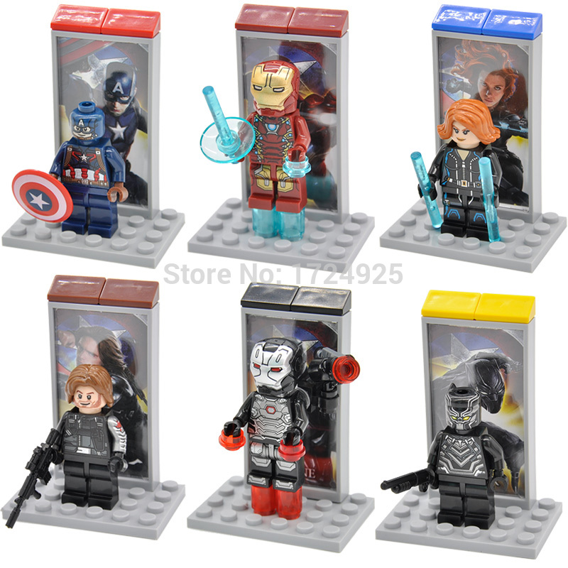 Single Sale Captain America Figure Civil War Winter Soldier Black Widow Iron Man Building Blocks Marvel Hero Models Toys captain america civil war iron man 618 q version 10cm nendoroid pvc action figures model collectible toys