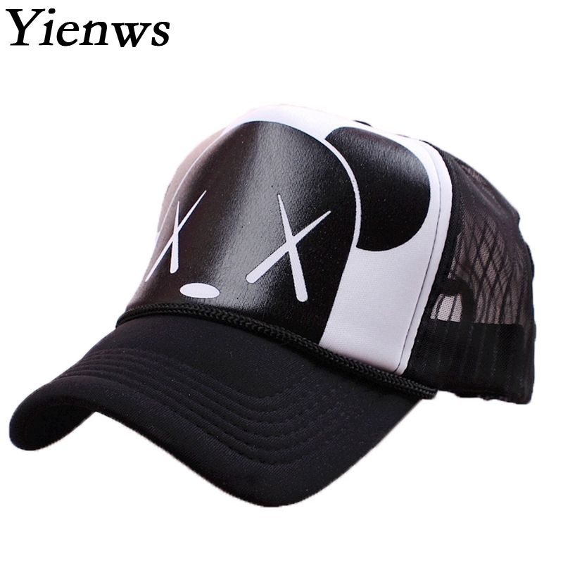 Yienws Women Mesh Baseball Cap Summer Trucker Hats Gravity Falls Bone Brim Curved Kawaii BearNet Cap Korean Pop YH221 women cap skullies