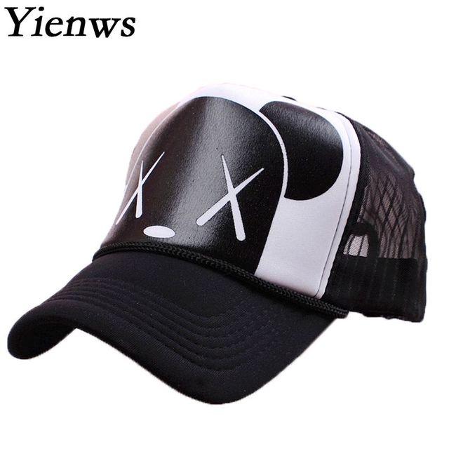 Yienws Women Mesh Baseball Cap Summer Trucker Hats Gravity Falls Bone Brim  Curved Kawaii BearNet Cap 62a4b31283
