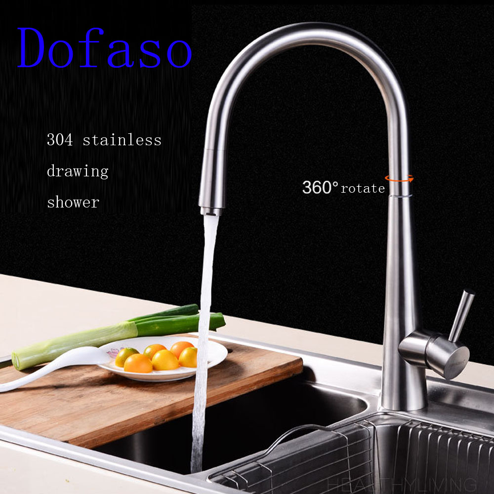 Dofaso stainless kitchen faucets pull out sink Mixer Faucet Pull Down Deck Mounted Dual Spout taps