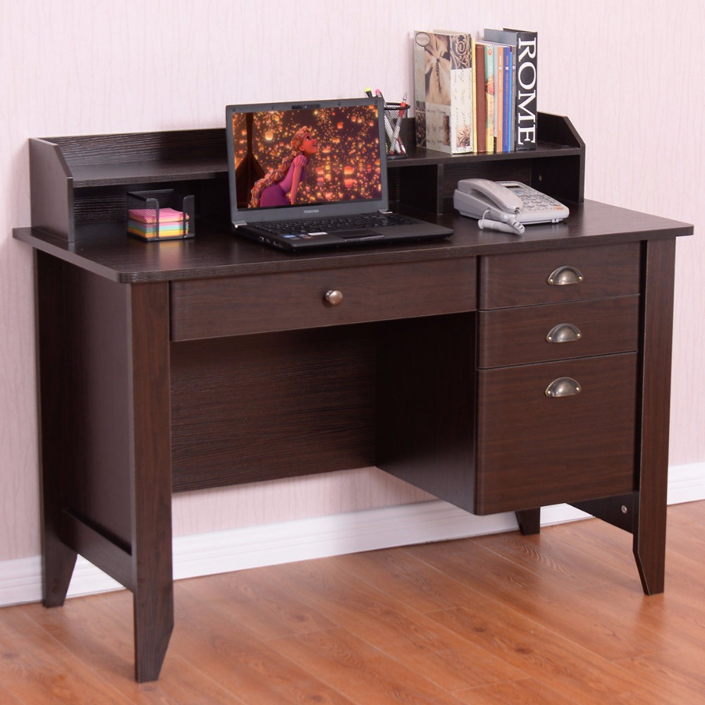 Goplus Computer Desk PC Laptop Writing Table Workstation Student Study Furniture Modern Home Office Table with Drawers HW54474