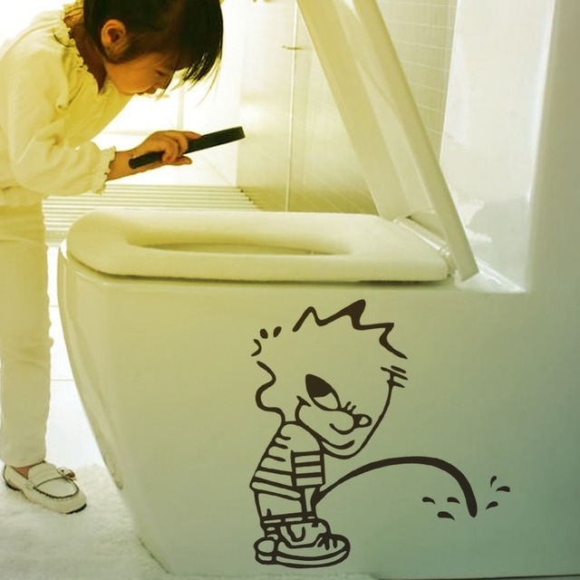New !Bathroom Sign 3D Wall Sticker Cute Funny Bad Boy Toliet Sticker ...