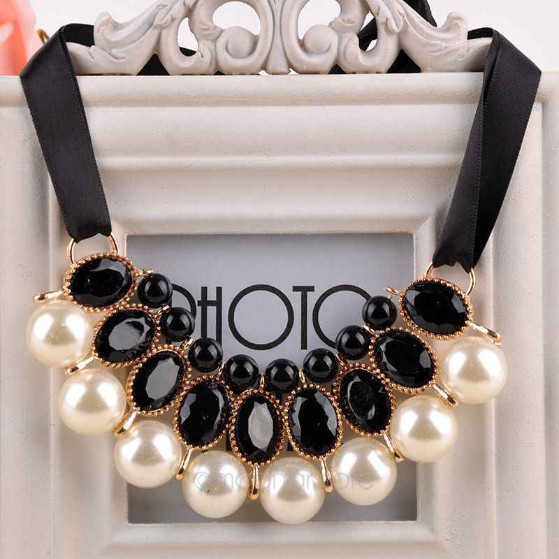 Women Neck Wearing Chains Imitation Pearl Choker Collar Ribbon Bead Rhinestone Chain Statement Necklaces Pendants Girl Jewelry