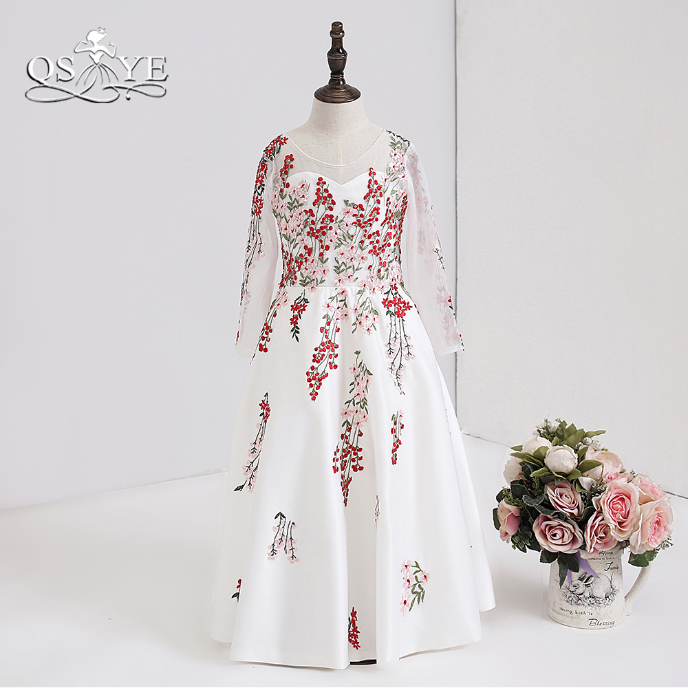 QSYYE 2018 3D Floral Lace   Flower     Girl     Dresses   Elegant Transparent O-Neck Long Sleeve Satin   Girls   Prom Pageant Gown Custom Made