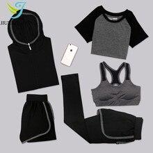 JINXIUSHIRT Женский спортивный костюм для йоги, комплект из 5 предметов, женские штаны с короткими рукавами, быстросохнущая Спортивная одежда для бега