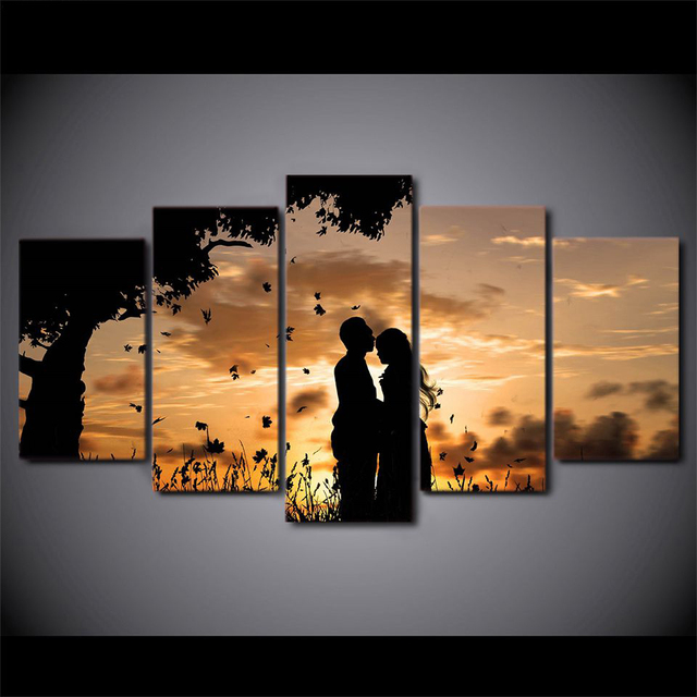 5 Pieces Lovers Landscape Prints Pictures Modular Pictures Abstract Canvas Painting Wall Art Decor  For Bedroom Living Room Home