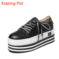2018 Genuine Leather Mixed Colors High Heels Brand Shoes Sneakers Lace Up Round Toe Loafers Handmade