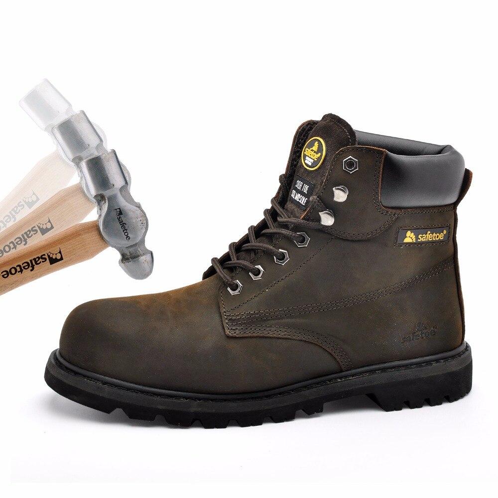 Safetoe/мужские рабочие ботинки; безопасная обувь; кроссовки со стальным носком; цвет коричневый; Экстра широкая подошва из коровьей кожи со ст... - 4