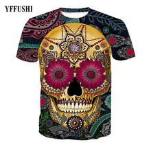 YFFUSHI Floral Print Skull T shirt Fashion Gold Skull Wear Flower Sunglasses