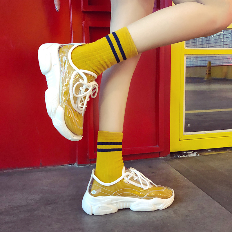 Transparent Vulcanized Shoes Round Rubber Sneakers Women Sheos Outdoor Casual Women Shoes Spring Shoes Woman Platform QQ-201