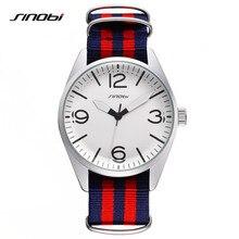 SINOBI Design Mens Nylon Strap Watch Striped Geneva Fashion Wrist Quartz Clock Ladies Dress Luxury Brand Watch For Women AB2161