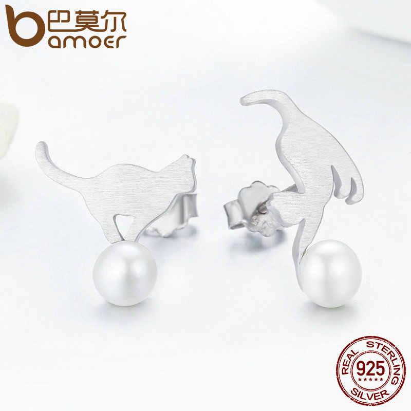 BAMOER gorąca sprzedaż 100% 925 srebro niegrzeczny kot grać Ball spadek kolczyki kobiety srebro kolczyki biżuteria prezent SCE235