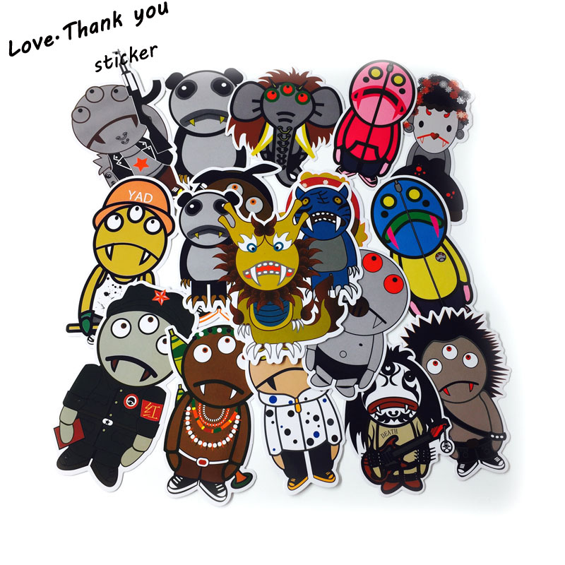 31Pcs Funny Cartoon Stickers Mixed JDM Home Motorcycle Suitcase DIY Vinyl Decal Skateboard Luggage Snowboard Fridge Sticker