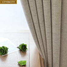 CITYINCITY Plaid Blackout Home Decor  Curtain Faux linen Plain Curtains Darpe For Bedroom Livingroom Rideaux Window Customized