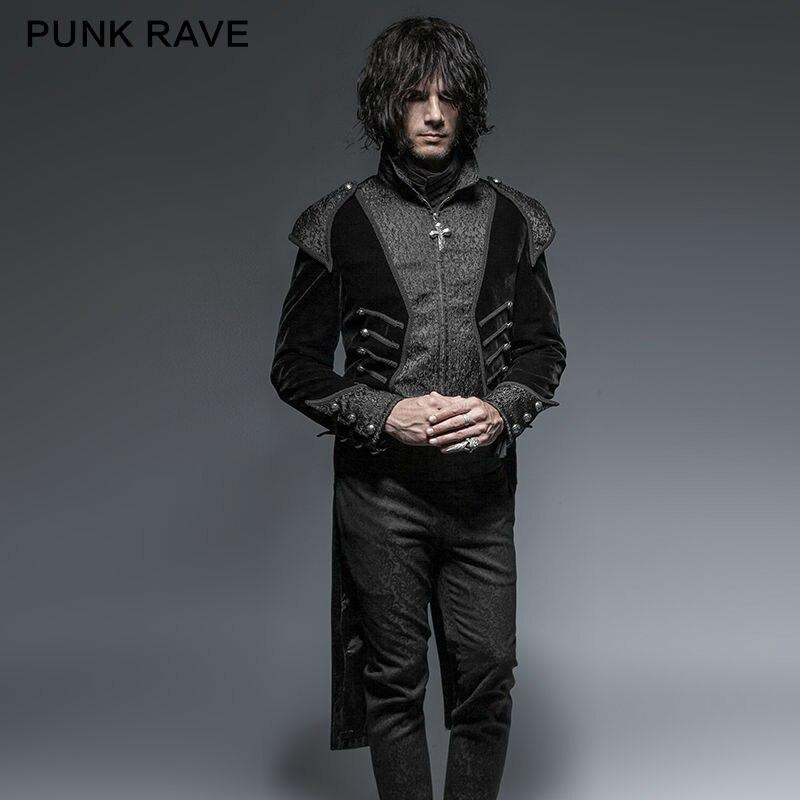 PUNK RAVE Gothic Unico Asimmetria A Coda di Rondine Cappotto Degli Uomini Retro Rock Visual Kei Steampunk Partito Giacca Nera