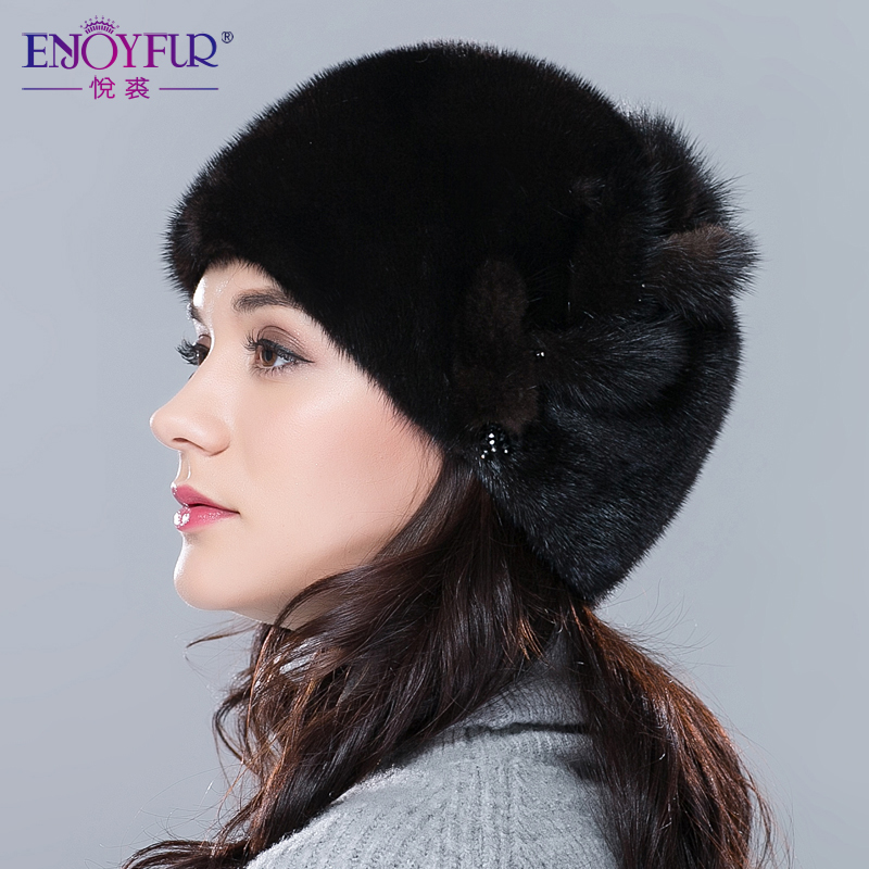 Winter Women Fur Hats Imported Real Mink Fur Hat Flower Pattern Adjustable Skullies Beanies New Sale Female Ear Protector