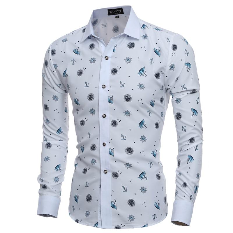 Men business casual shirt 2017 mens creative anchor for Mens printed long sleeve shirts