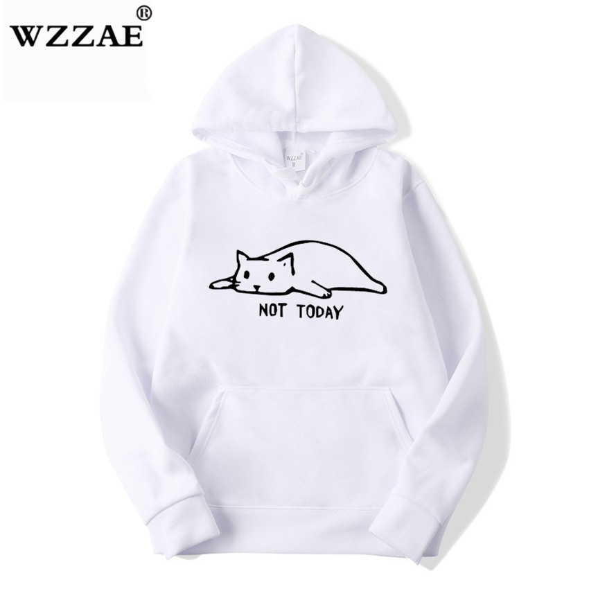 Kawaii Cat Hoodies Men Not Today Funny Graphic Sweatshirt Men/Women Harajuku Fashion Sweat Unisex Long Sleeve Sudadera Mujer
