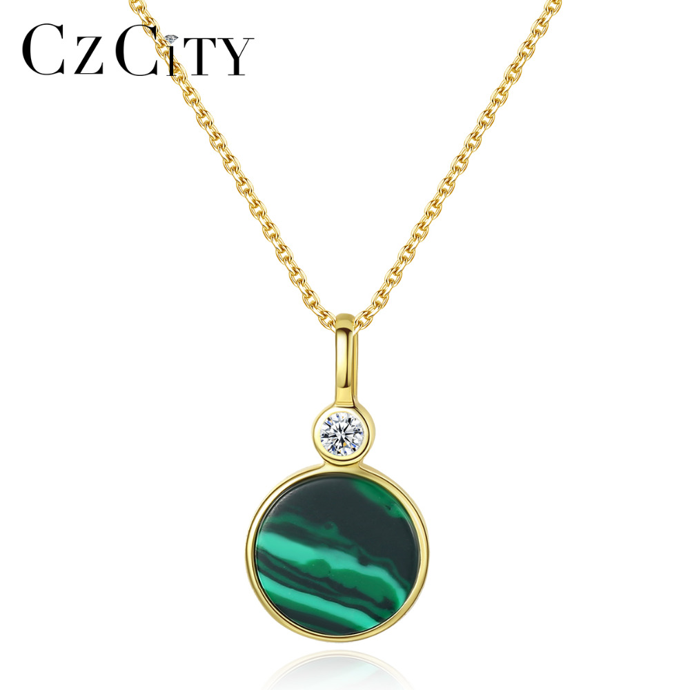 CZCITY New 18K Gold Plated 925 Sterling Silver Emerald Malachite Gemstone Pendant Necklace for Women Elegant Anniversary Jewelry