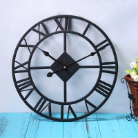 OCEA Traditional Vintage Black Iron Wall Clock Home Decoration Roman Numerals And Quartz Mechanism Wall Clock