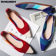 TINGHON Spring Women Flats Pointed Toe Slip on Ballet Flat Shoes Shallow Boat Shoes Woman Loafer Ladies Shoes Zapatos suojialun 2019 spring women flats pointed toe slip on ballet flat shoes shallow boat shoes woman loafer ladies shoes zapatos
