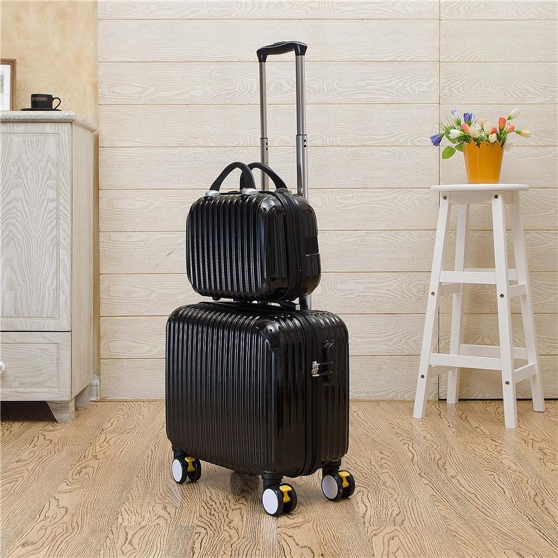 Прекрасный ярких цветов багаж набор с универсальным колесами, 14 16 дюймов Корея Модный стиль багаж набор, ноутбук поле