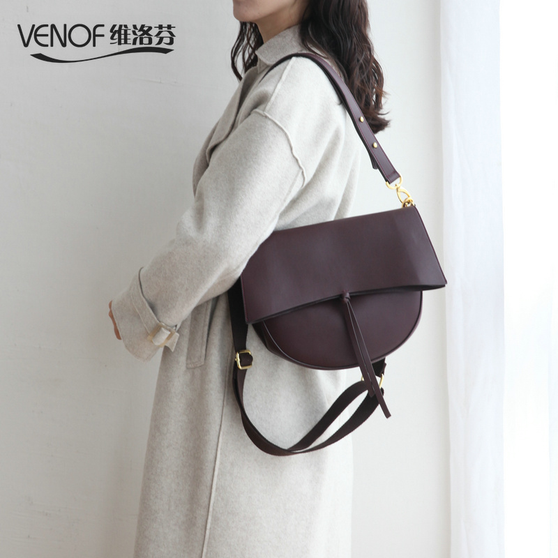 VENOF luxury women split leather messenger bag female roomy saddle bags elegant ladies shoulder bag crossbody bag for women 2018