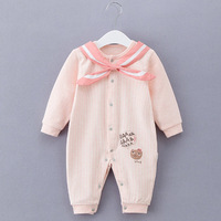 High Quality 0 3 6 9M Newborn Baby Girls Rompers Clothes Baby Sailor Suit Cotton Stripe