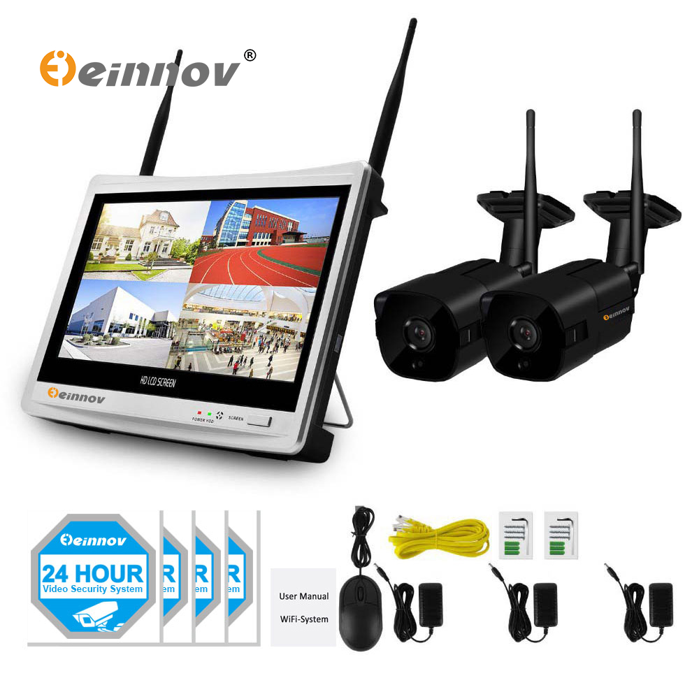 Einnov 2CH 1080P 2MP Home Security Camera System Wifi CCTV Wireless NVR 12inch LCD Monitor Outdoor