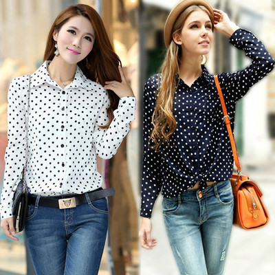 2f4e56830d576d free shipping New White Navy Women Shirt Polka Dots Chiffon Vintage Blouse  Long Sleeve big size S-XXL
