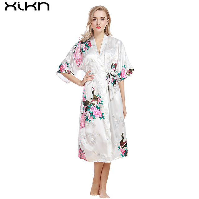 XIKN Women Ice Silk Pajamas Sleep Lounge Robe Noble Series Ladies Soft  Comfortable Skin-friendly Clothing Nightwear AK008 a5494c7e59a9