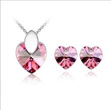 Free Shipping kids Heart Shape silver plated Crystal jewelry sets For Women
