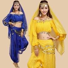 4pcs/set Belly dance costume set indian dance cloth set  Top pants hip  belt veil