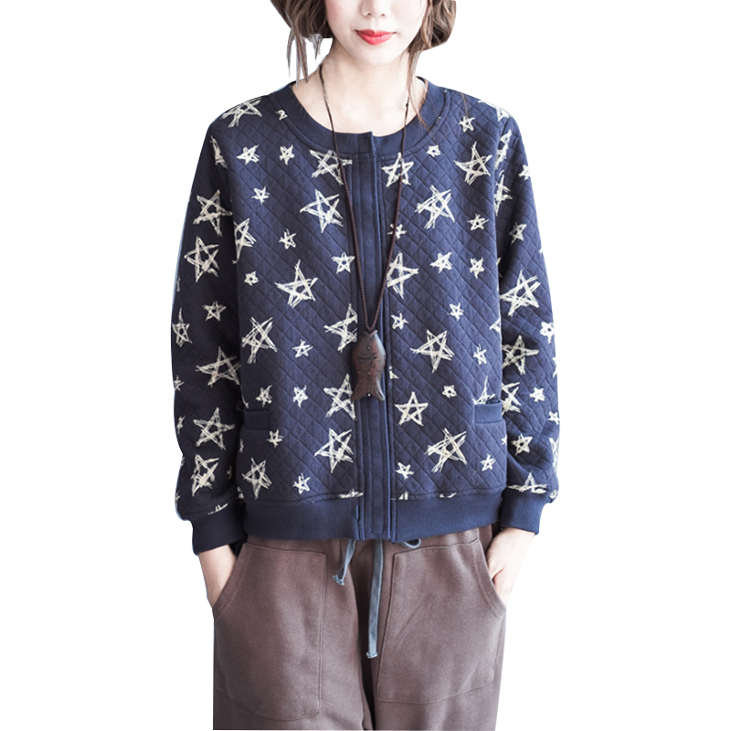 LYFZOUS Short Print   Basic     Jacket   Cotton Casual Loose Artsy Coat Long Sleeve O Neck Overcoat Spring Autumn Outerwear For Woman