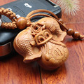 3 pcs/lot High-grade wood Two fish and moneybag carving key buckle Lucky wooden Keychain car key pendant Wholesale