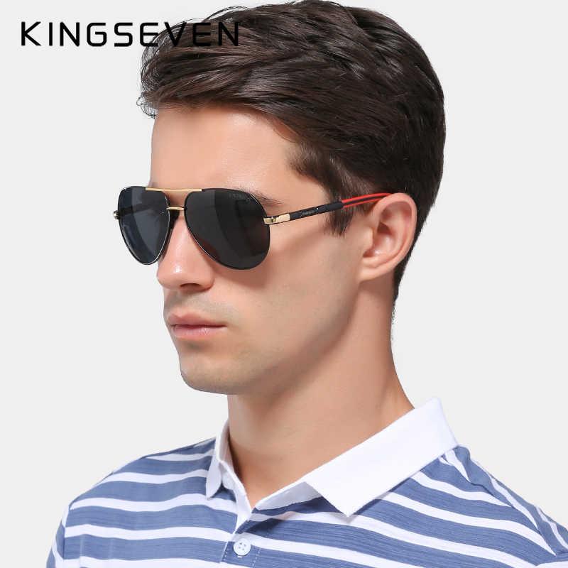 Мужские очки линзами с поляриз. покр. KINGSEVEN, черно-красно-золотистые солнцезащитные очки для вождения в винтажной алюминиевой оправе с линзами с поляризованным покрытием, лето 2019