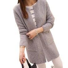 Повседневный вязаный свитер с длинным рукавом, кардиганы, весна-осень, вязаные крючком женские свитера, теплый женский кардиган, пальто
